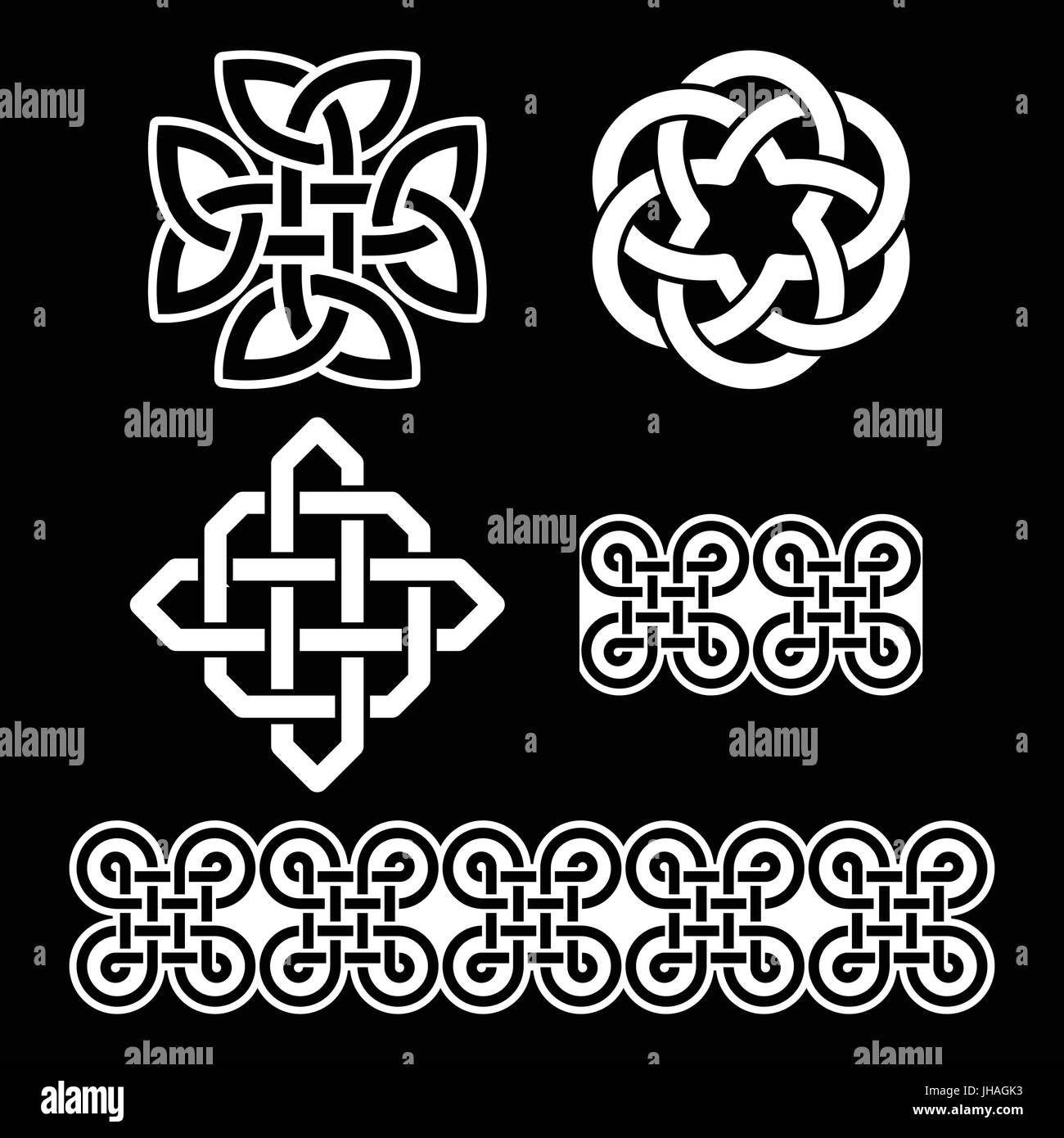 Celtic irish patterns and knots vector st patricks day set of celtic irish patterns and knots vector st patricks day set of traditional celtic symbols knots braids in black and white buycottarizona Image collections