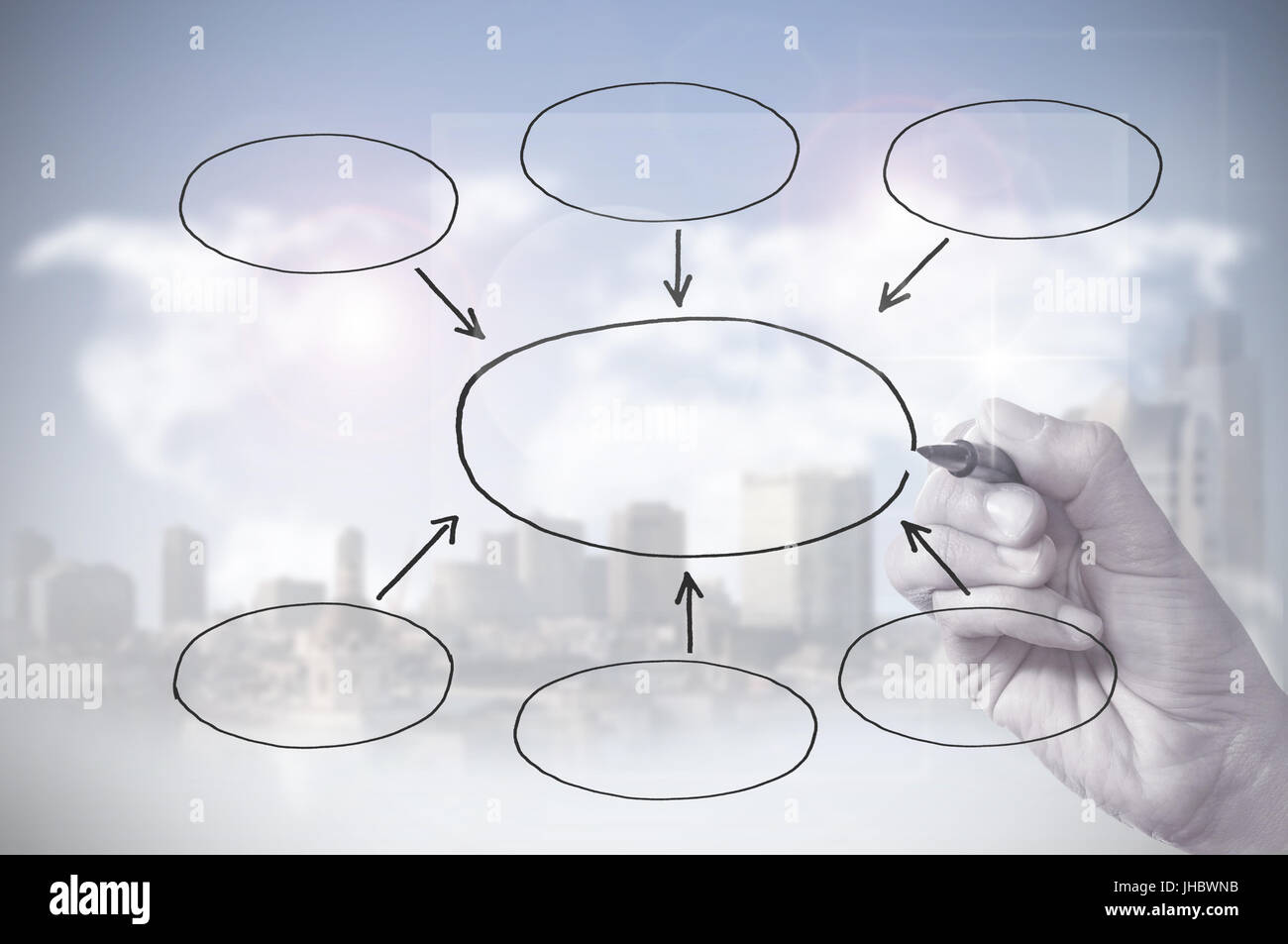 Hand drawing an empty flowchart diagram stock photo royalty free hand drawing an empty flowchart diagram nvjuhfo Gallery