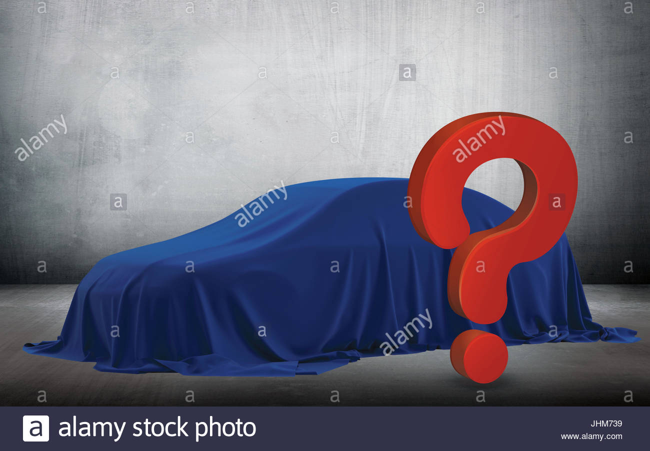 Presentation Of New Car With Question Mark Wrapped Under A