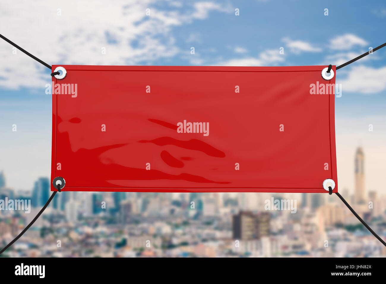 Red Blank Vinyl Banner Hanging With Rope Stock Photo Royalty Free - Blank vinyl banners