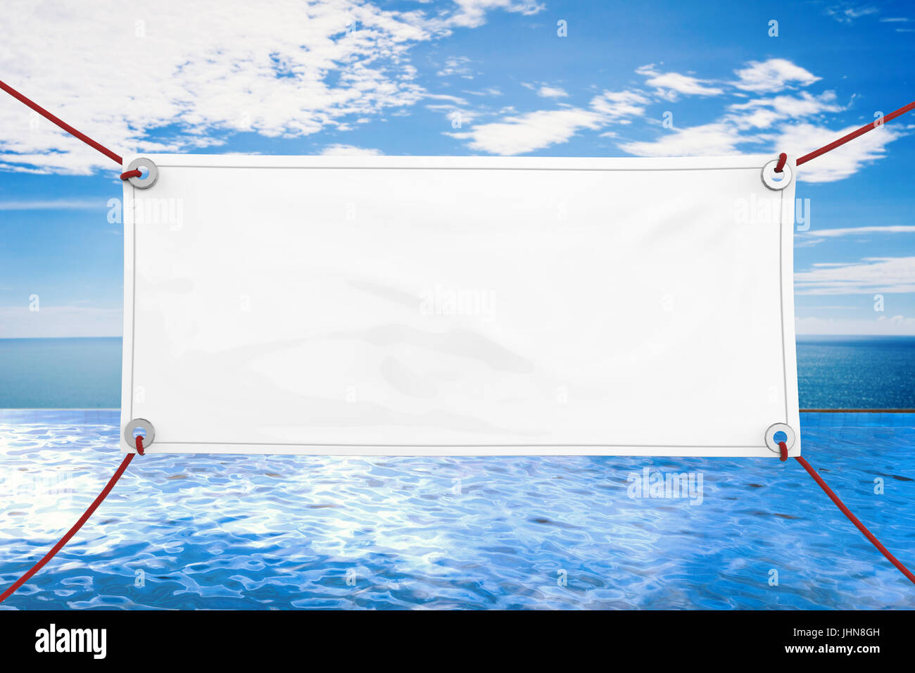 Blank White Vinyl Banner Hanging With Rope Stock Photo Royalty - Blank vinyl banners