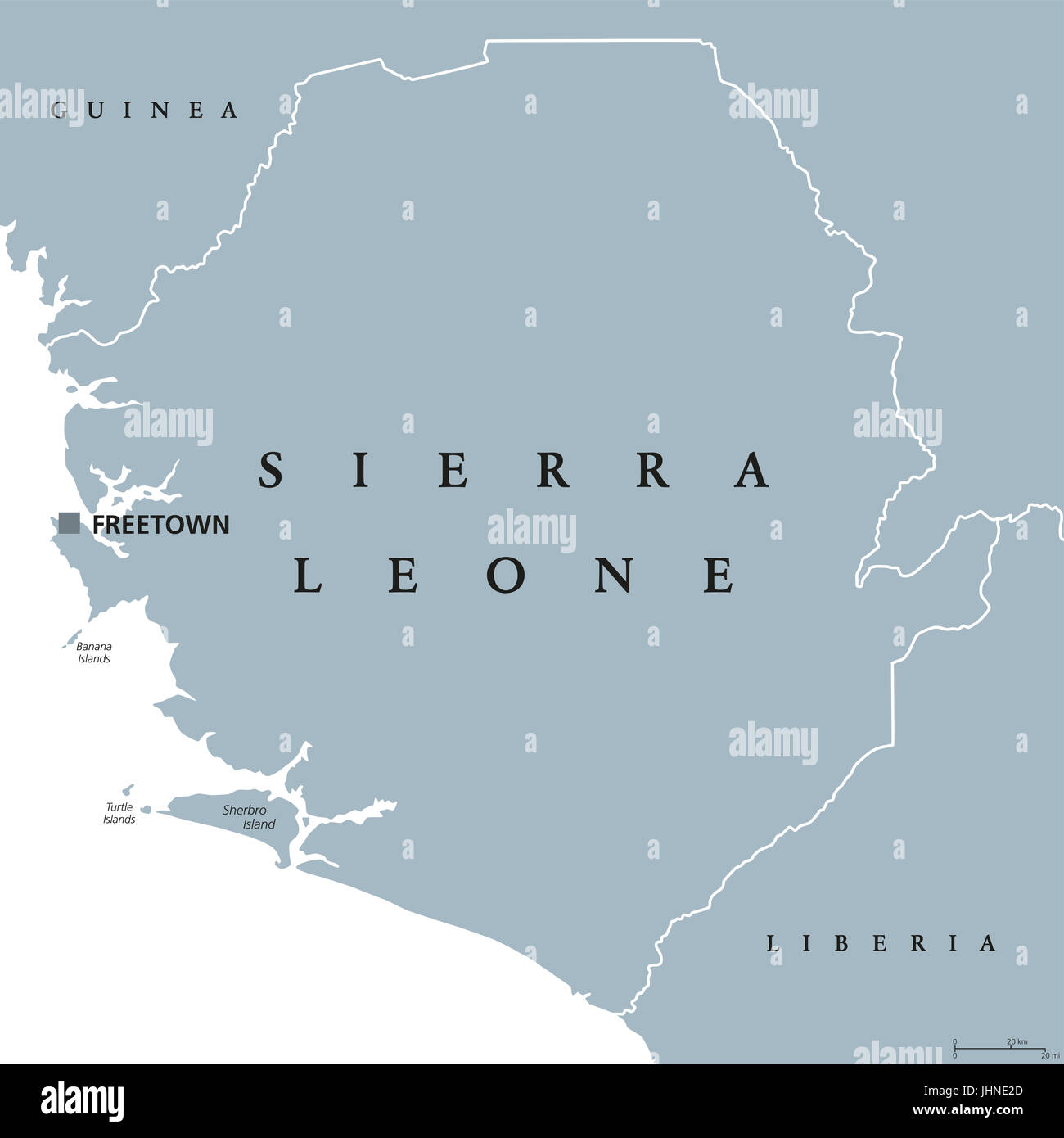 Sierra Leone political map with capital Freetown and international