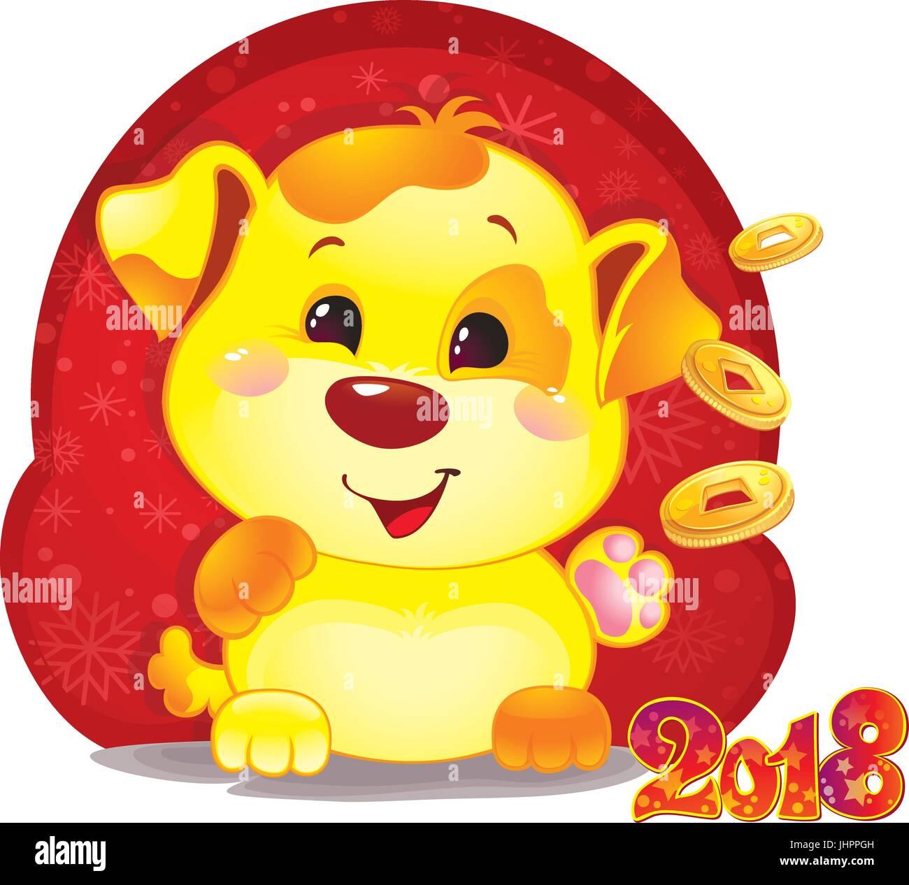 Cute symbol of chinese horoscope yellow dog with golden coins cute symbol of chinese horoscope yellow dog with golden coins for the new year 2018 biocorpaavc
