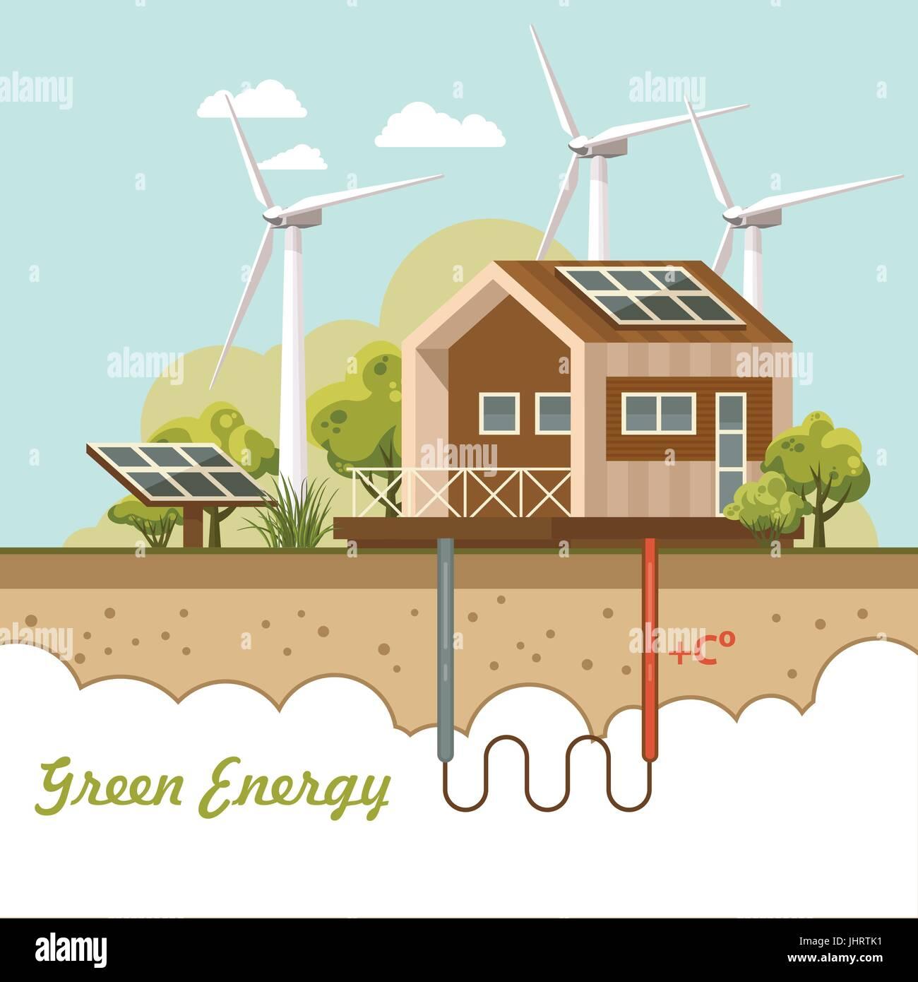 Eco Friendly House. Vector Illustration.