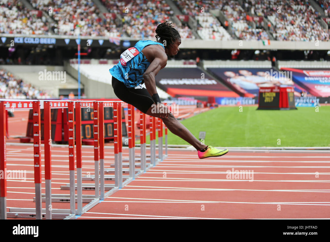 Eddie LOVETT Warming Up For The Mens 110m Hurdles Heat 1 At 2017 IAAF Diamond League Anniversary Games Queen Elizabeth Olympic Park London UK