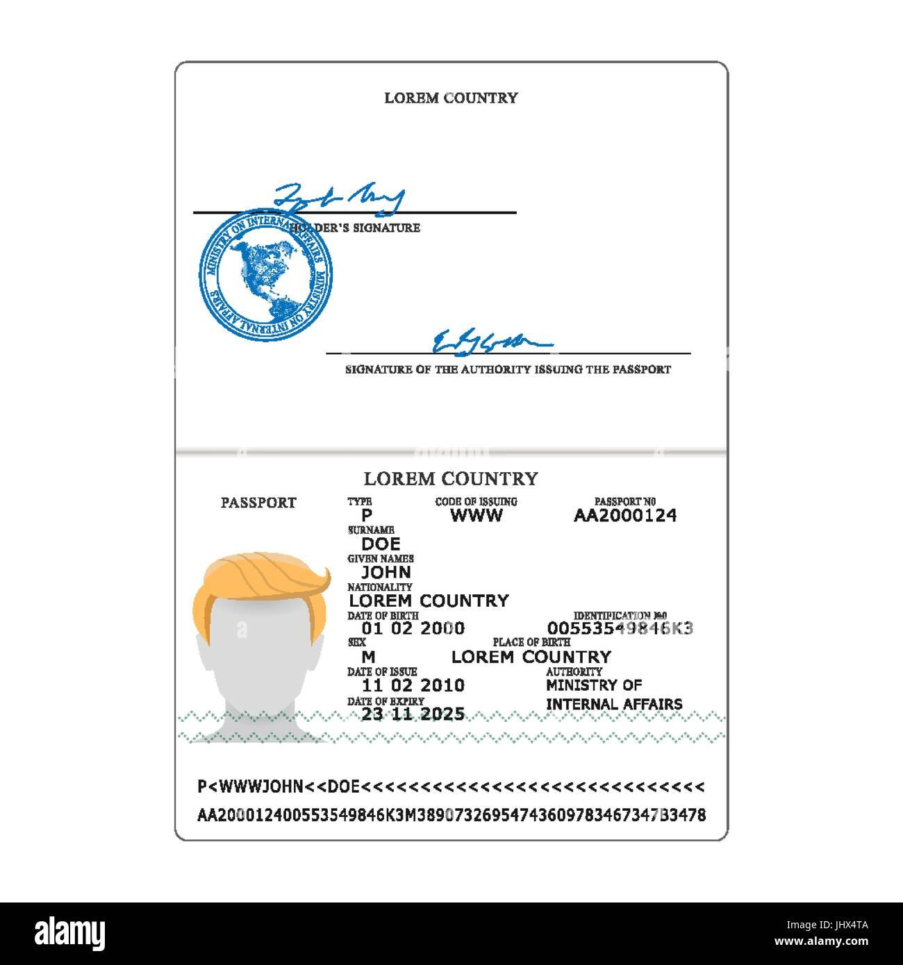 International Passport Vector. Opened Passport Page Blank Template ...