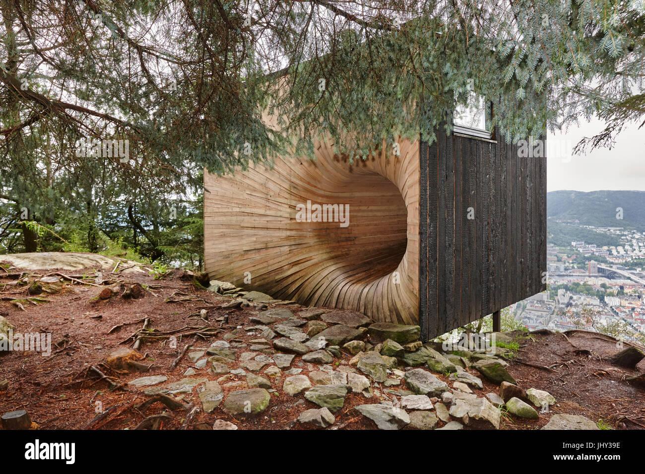 Norwegian wooden modern cabin in the forest tubakuba bergen area stock photo royalty free - Norwegian wood houses ...