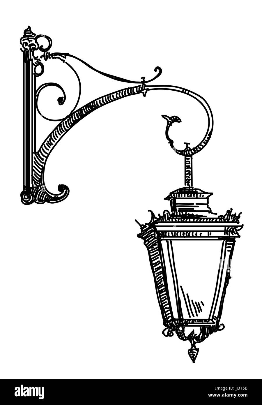 Hand drawing isolated illustration of old street lamp in black ... for Street Lamp Drawing  587fsj