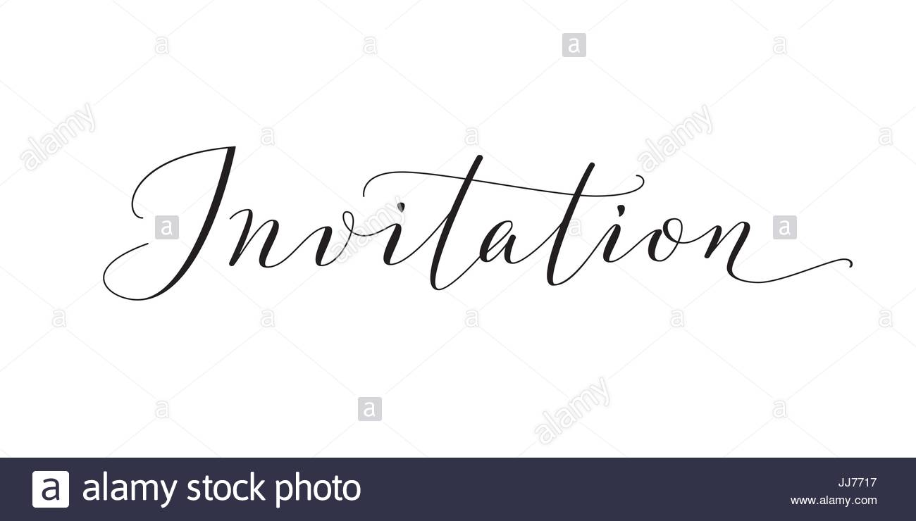 Invitation Word Hand Written Custom Calligraphy Isolated