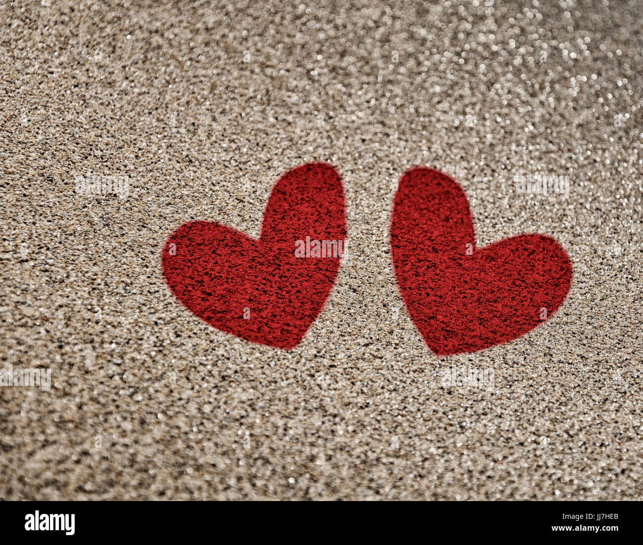Painted two red heart on the sand a symbol of love stock photo painted two red heart on the sand a symbol of love biocorpaavc Images