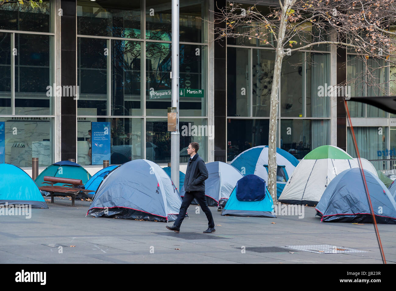 Homeless people in their tents c&ed outside the Reserve Bank of Australia Martin Place Sydney Australia & Homeless people in their tents camped outside the Reserve Bank of ...