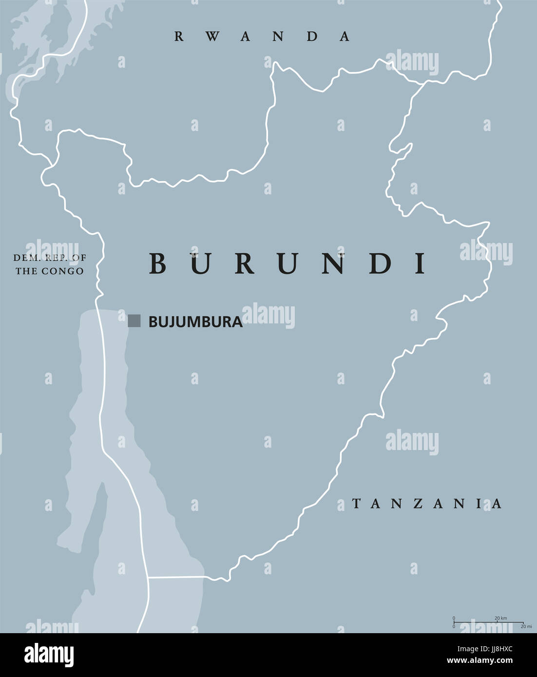 Burundi Political Map With Capital Bujumbura And International - bujumbura map