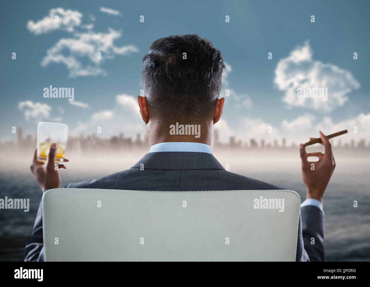 Digital Composite Of Back Of Seated Business Man Smoking