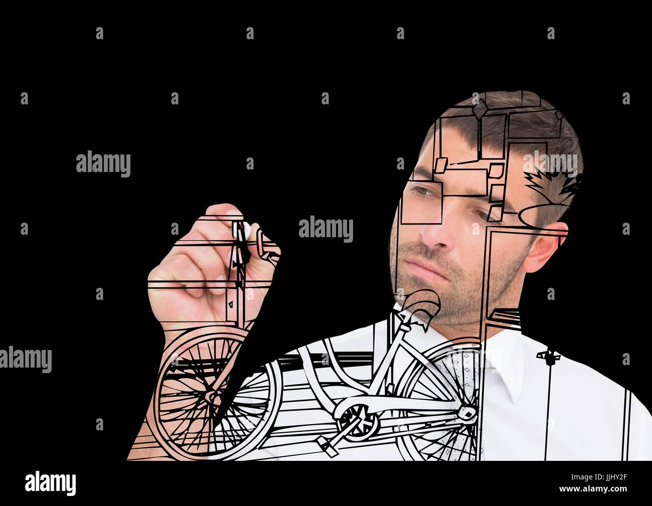 Drawing Lines In Office : Man drawing office lines on the screen stock photo royalty free