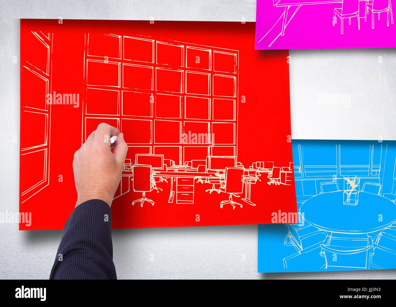 Drawing Lines In Office : D hand drawing office white lines on red paper stick the wall