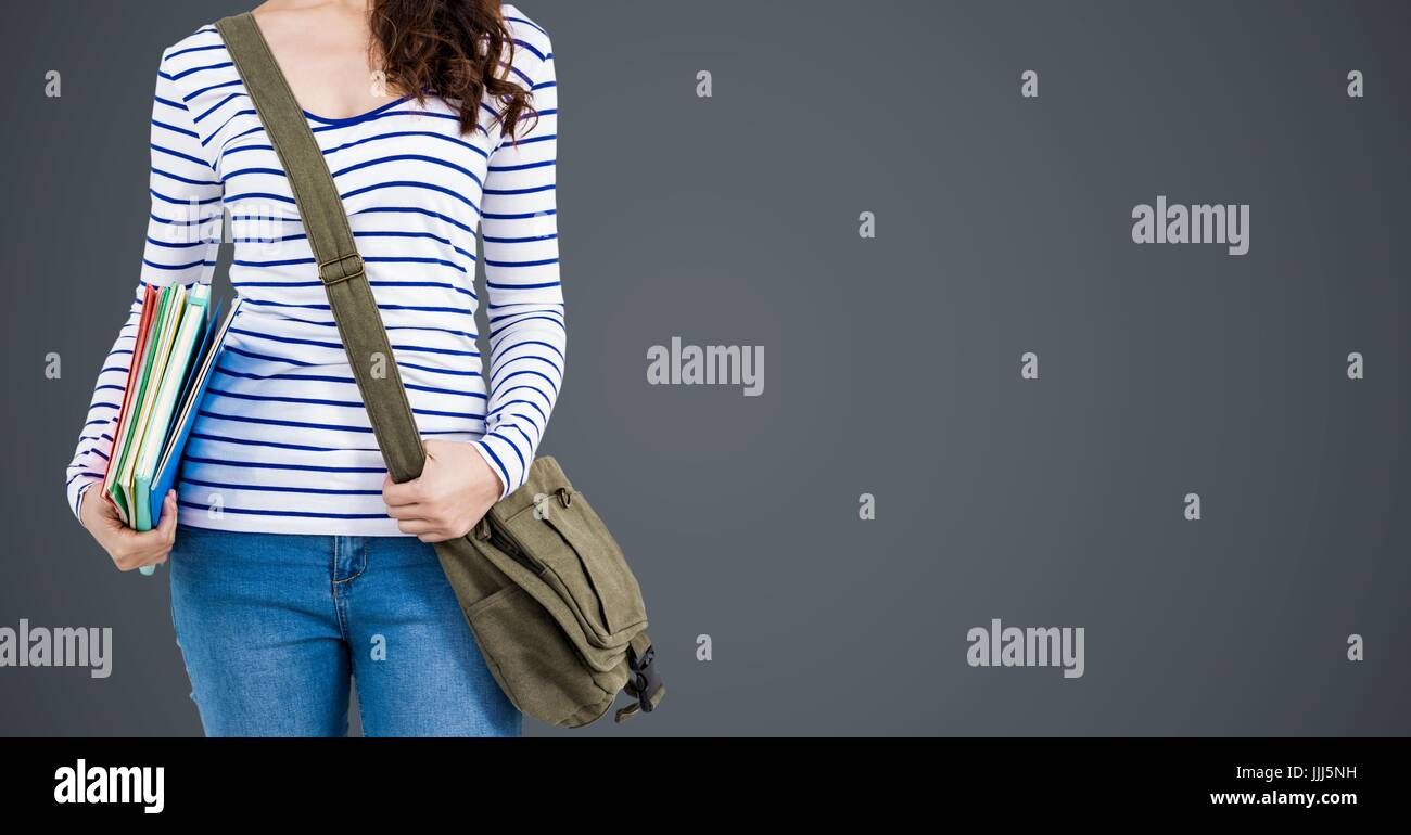 3d College Student With Books And Bags Against Grey Background