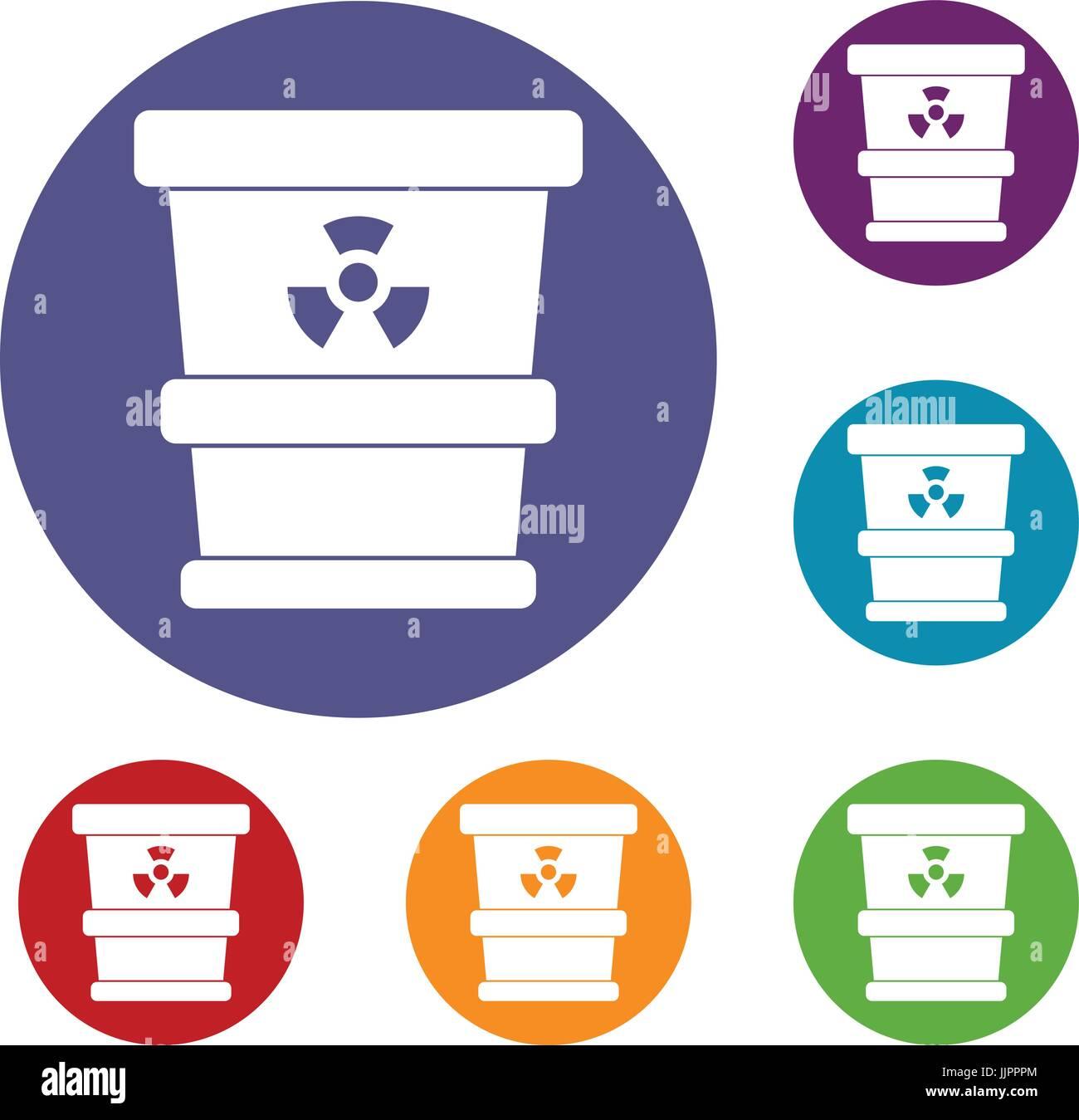 Trashcan Containing Radioactive Waste Icons Set Stock Photo Royalty
