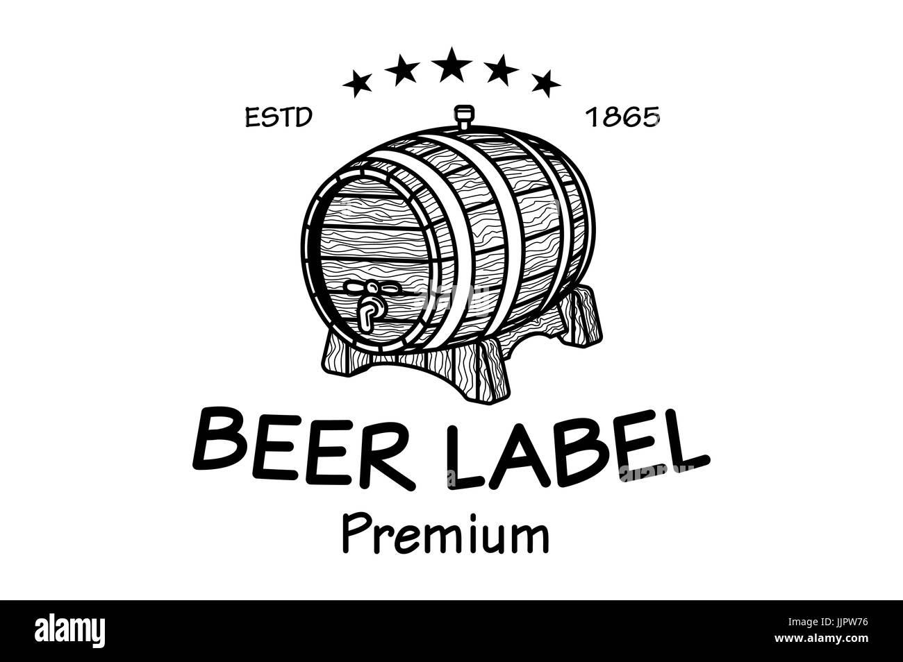 cask sketch. Set of Vintage Logo Templates For Beer House, Brewing ...