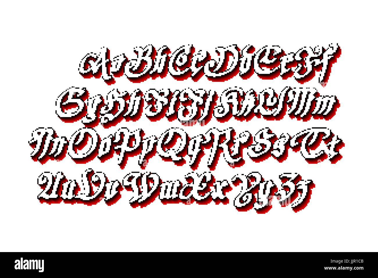 Blackletter Gothic Script Hand Drawn Font Art Vector Stock