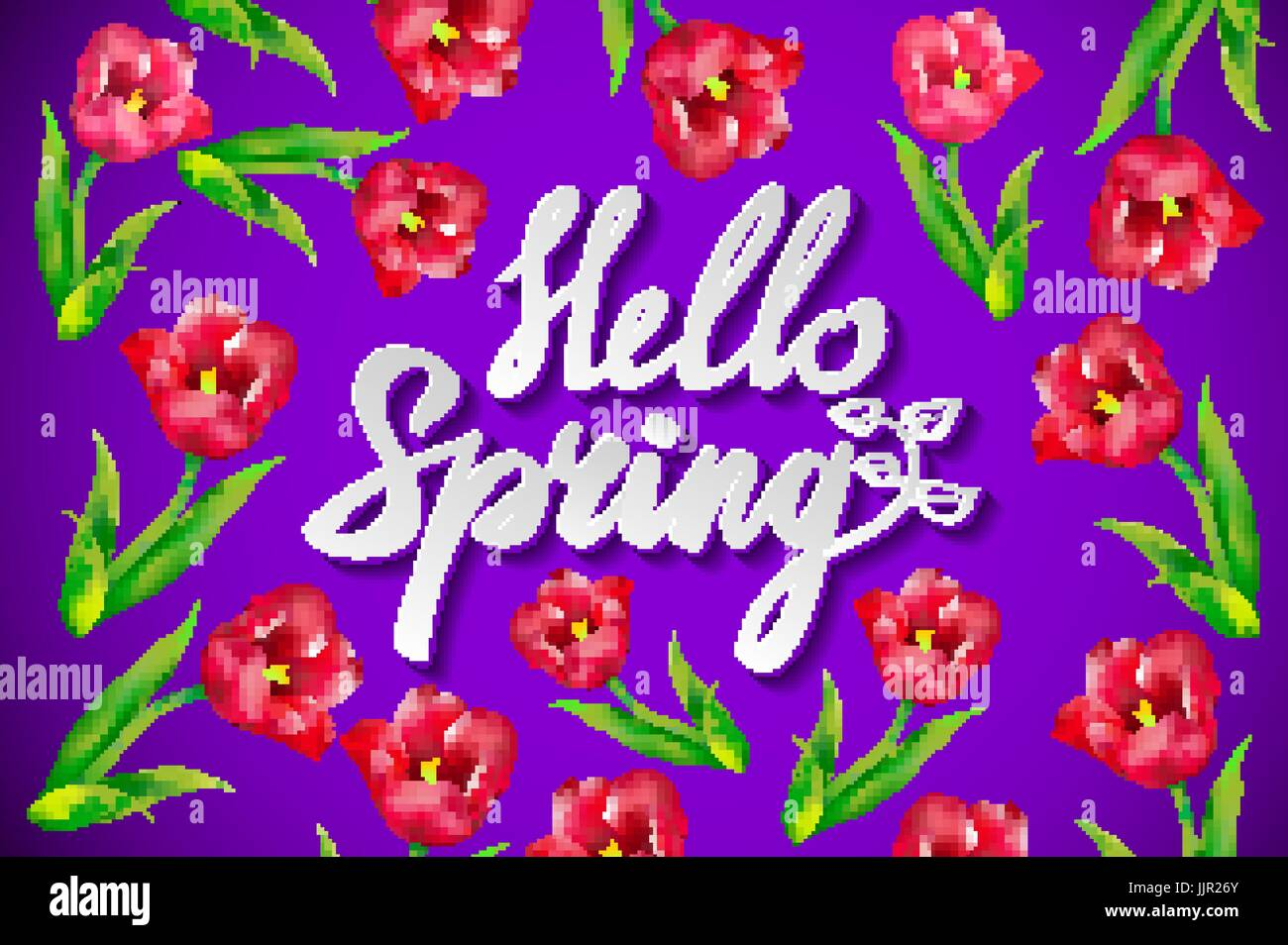 Hand drawn spring inspirational quote hello spring season of hand drawn spring inspirational quote hello spring season of love pen and ink calligraphy brush painted purple letters on violet background and bl kristyandbryce Image collections