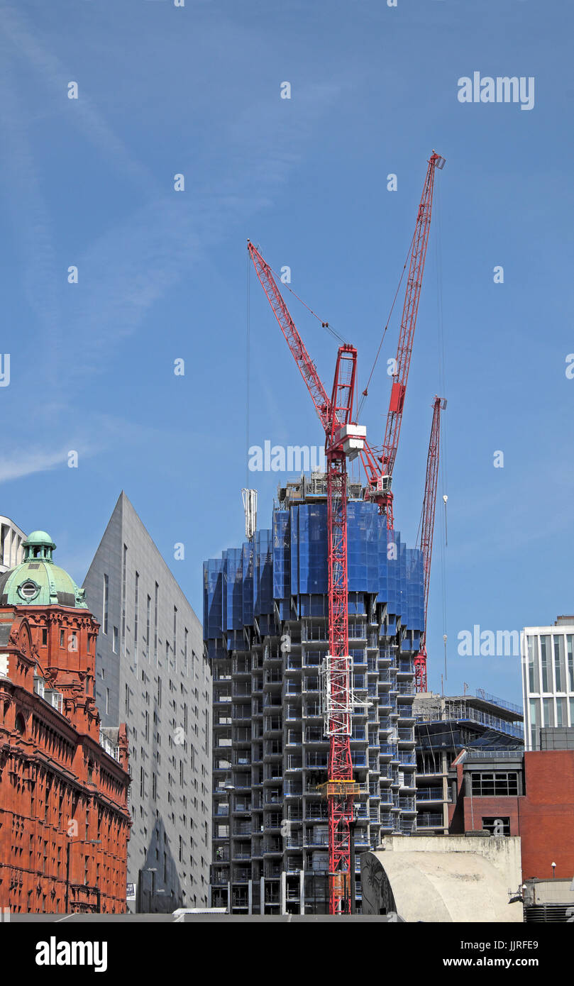 High rise residential Atlas building under construction with red cranes looming on the skyline in 2017  London N1 Stock Photo