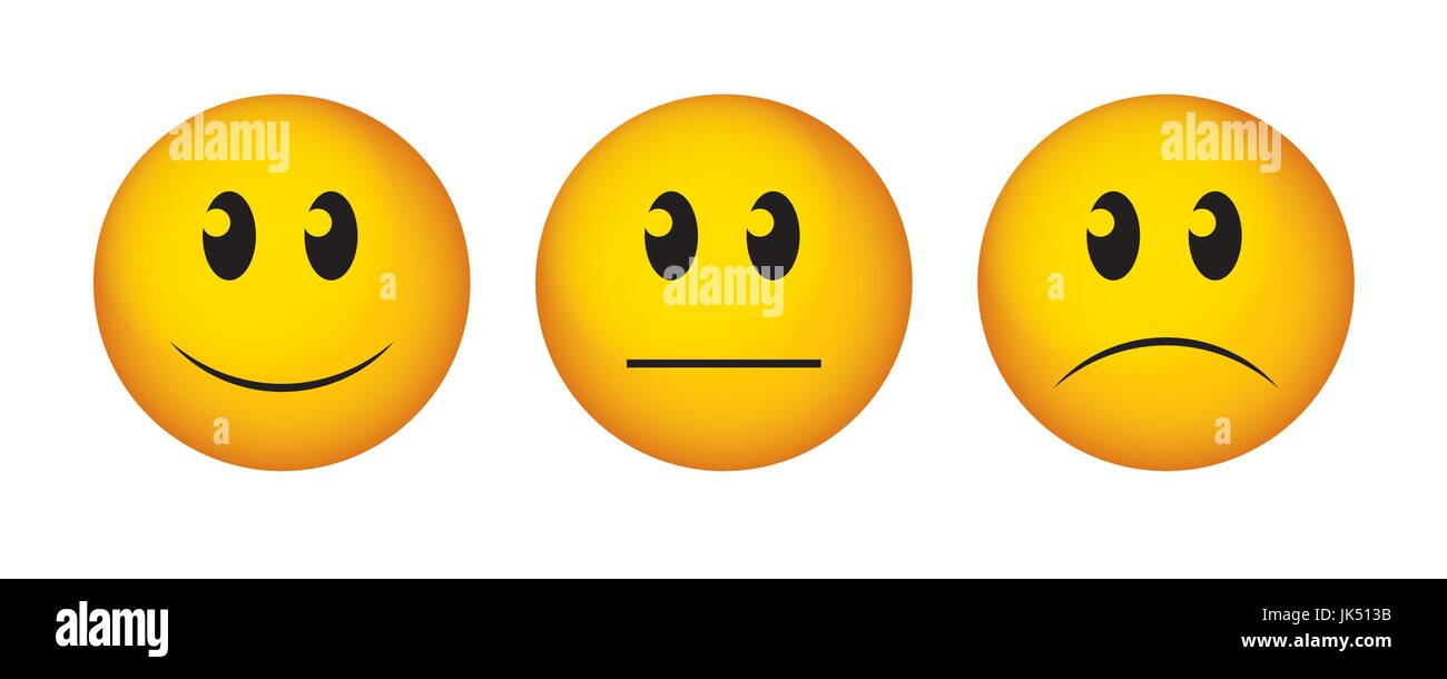 Happy Straight Face And Sad Emoticon Buttons To Vote On
