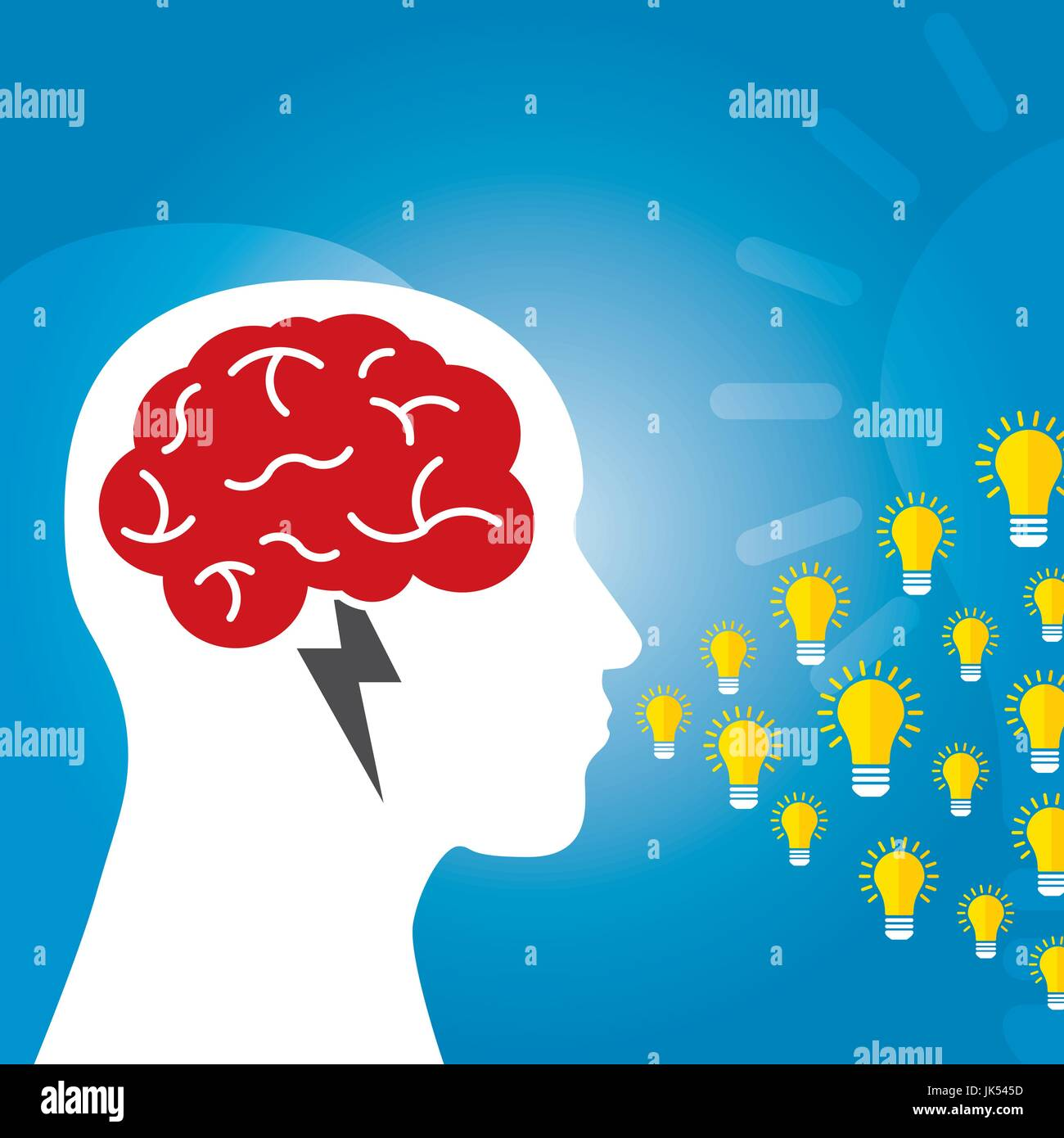 Brainstorm Is Brain And Lightning Of Power Creative Business Idea. Lamp For  Innovation And Sucess On Vector Illustration