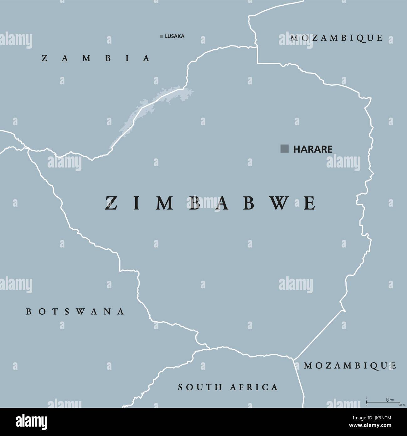 Zimbabwe Political Map With Capital Harare International Borders - Republic of zimbabwe map