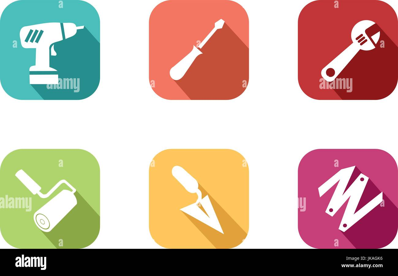 Colorful do it yourself icon and work in a house in flat design colorful do it yourself icon and work in a house in flat design style to illustrate to illustrate the work in a house solutioingenieria Gallery