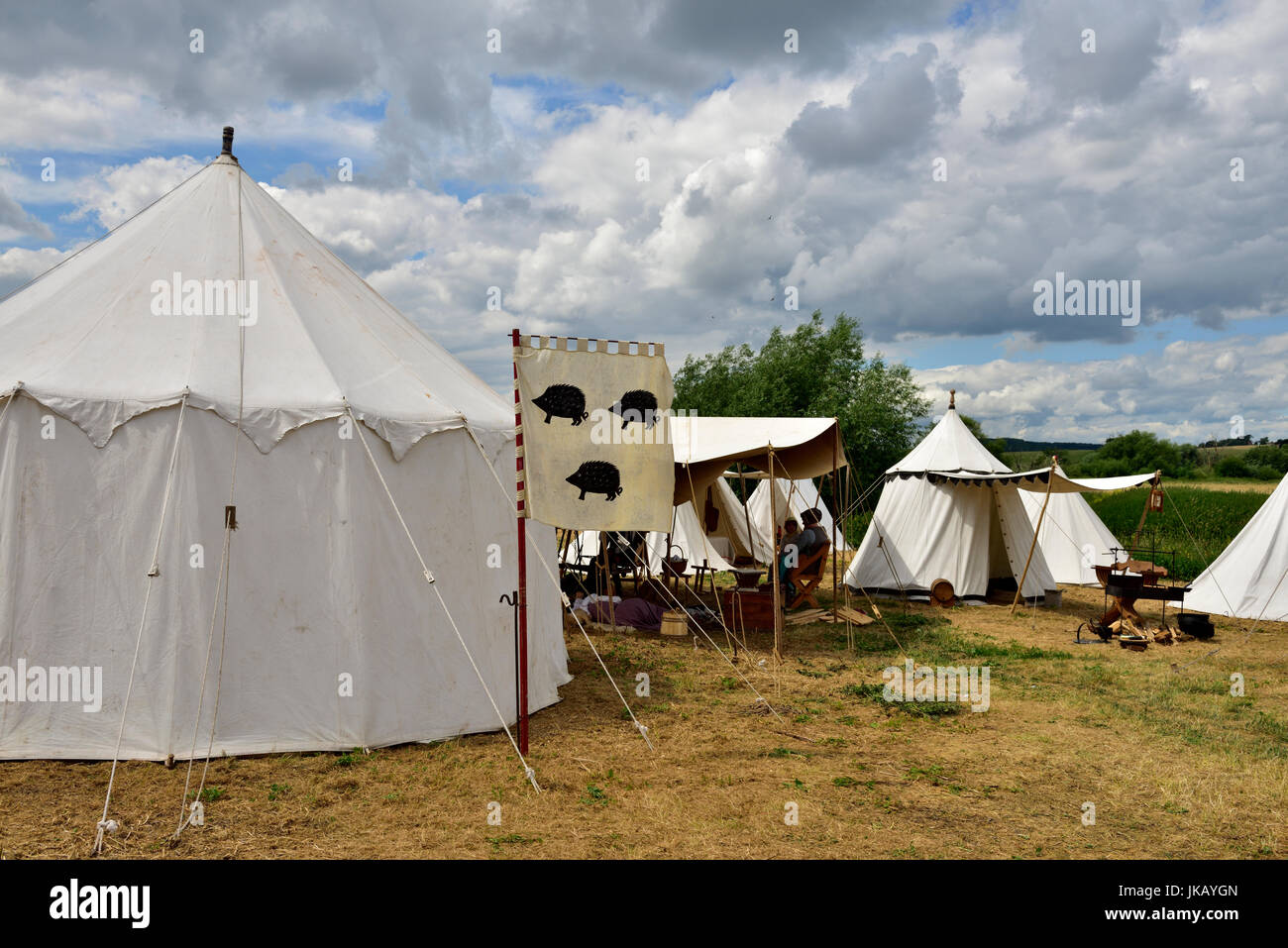 Medieval style military c& with tents at Tewkesbury Medieval re-enactment Festival 2017 & Medieval style military camp with tents at Tewkesbury Medieval ...