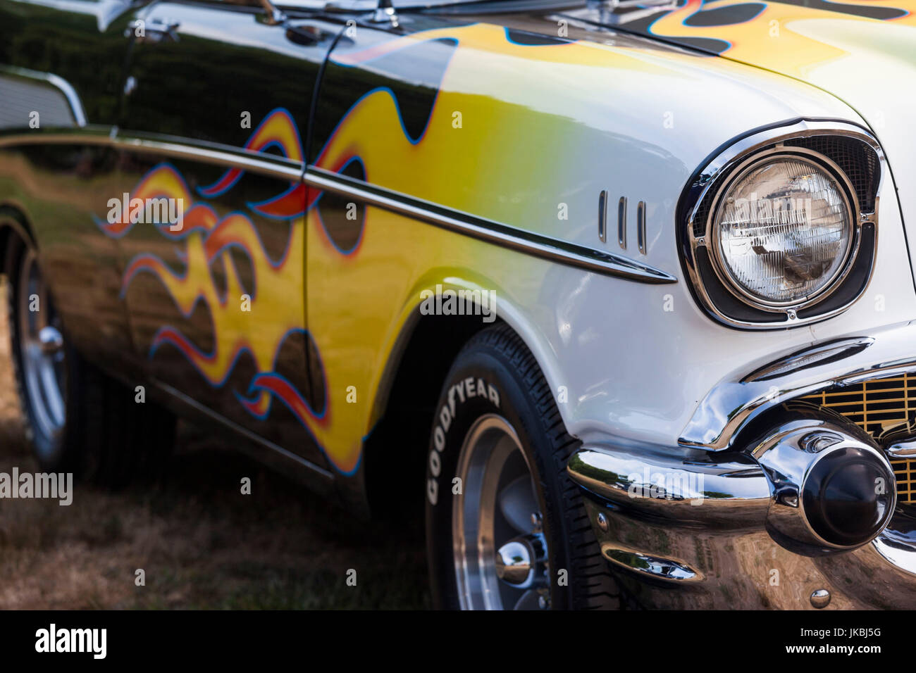 USA, Massachusetts, Gloucester, Antique Car Show, 1957 Chevy with ...