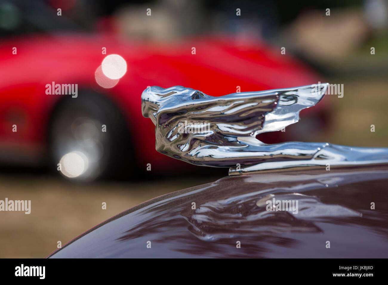 USA, Massachusetts, Gloucester, Antique Car Show, Hood Ornament ...
