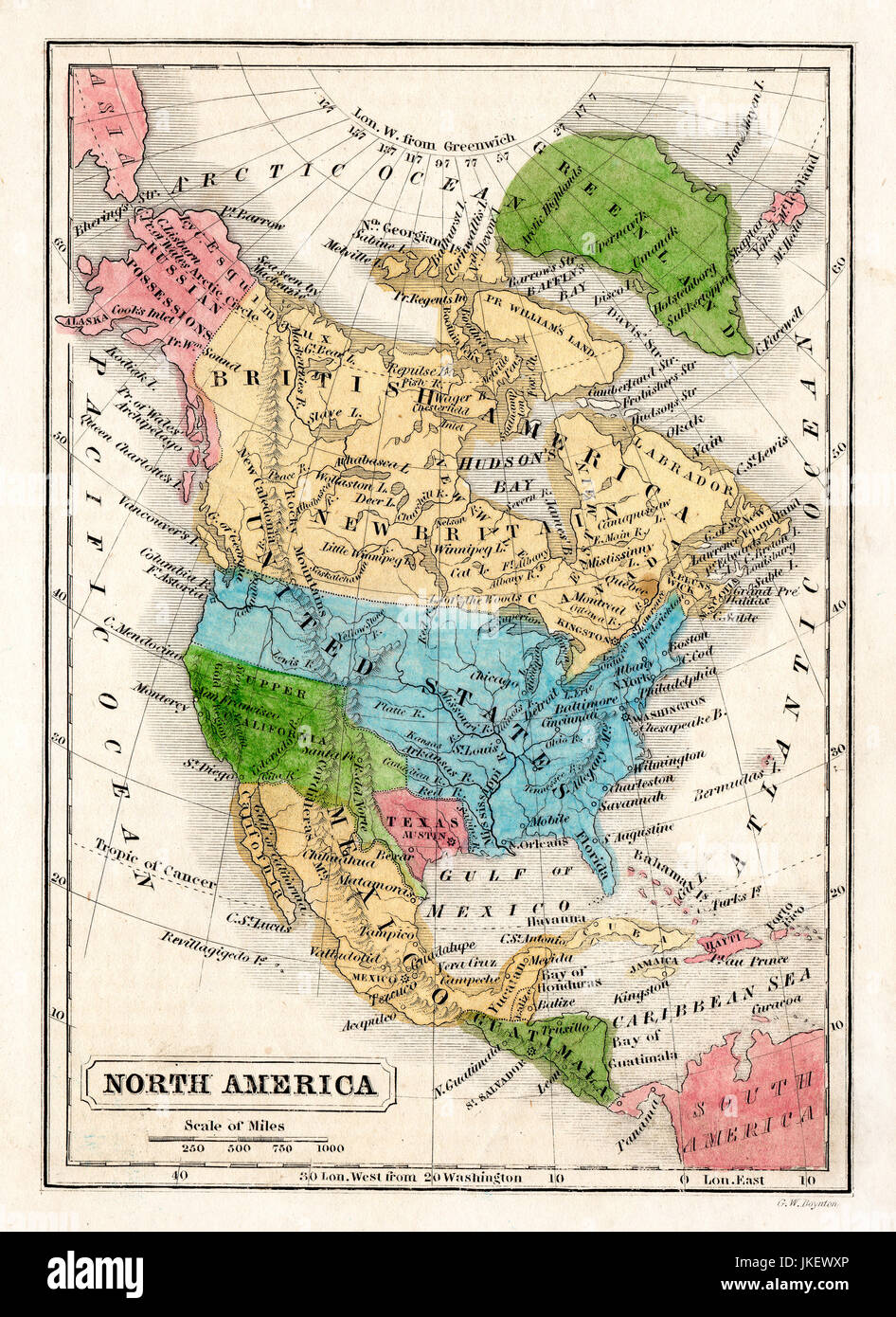 1845 Boynton Map of the North America showing the Republic of