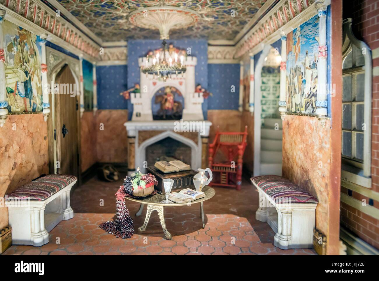 A Room In A Dolls House Created By Miniaturist Jane Fiddick, At Newby Hall,  Yorkshire