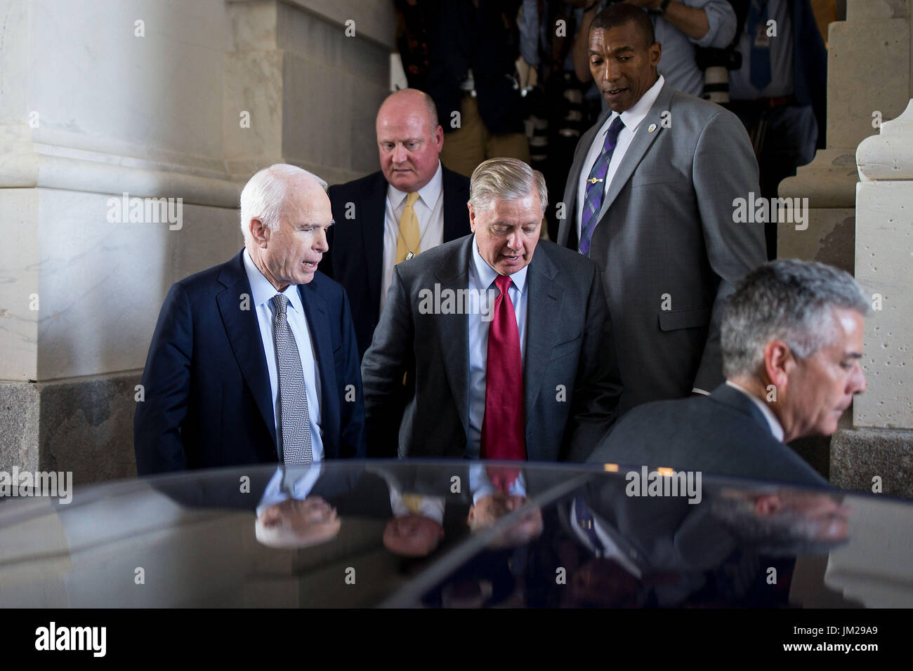 25th July 2017 US Senator John McCain L Leaves After Voting On Capitol In Washington DC The United States 25