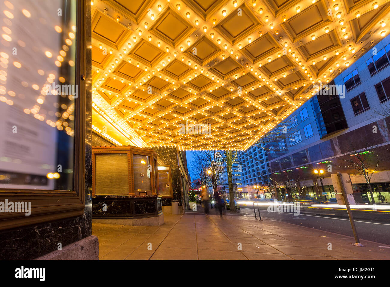 Theater Ceiling Marquee Lights In Downtown Portland Oregon On Stock
