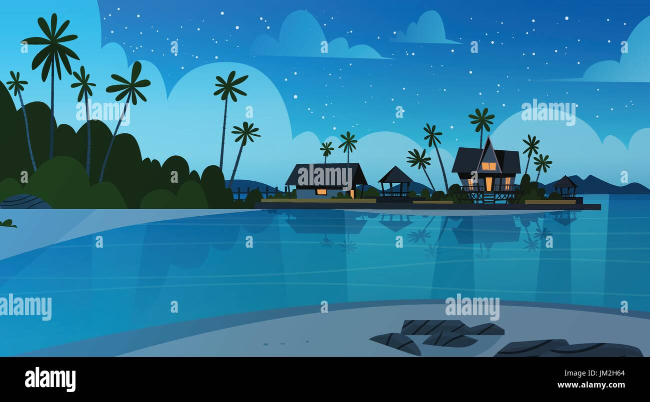 Sea Shore Beach With Villa Hotel Beautiful Seaside Landscape At Night Summer Vacation Concept
