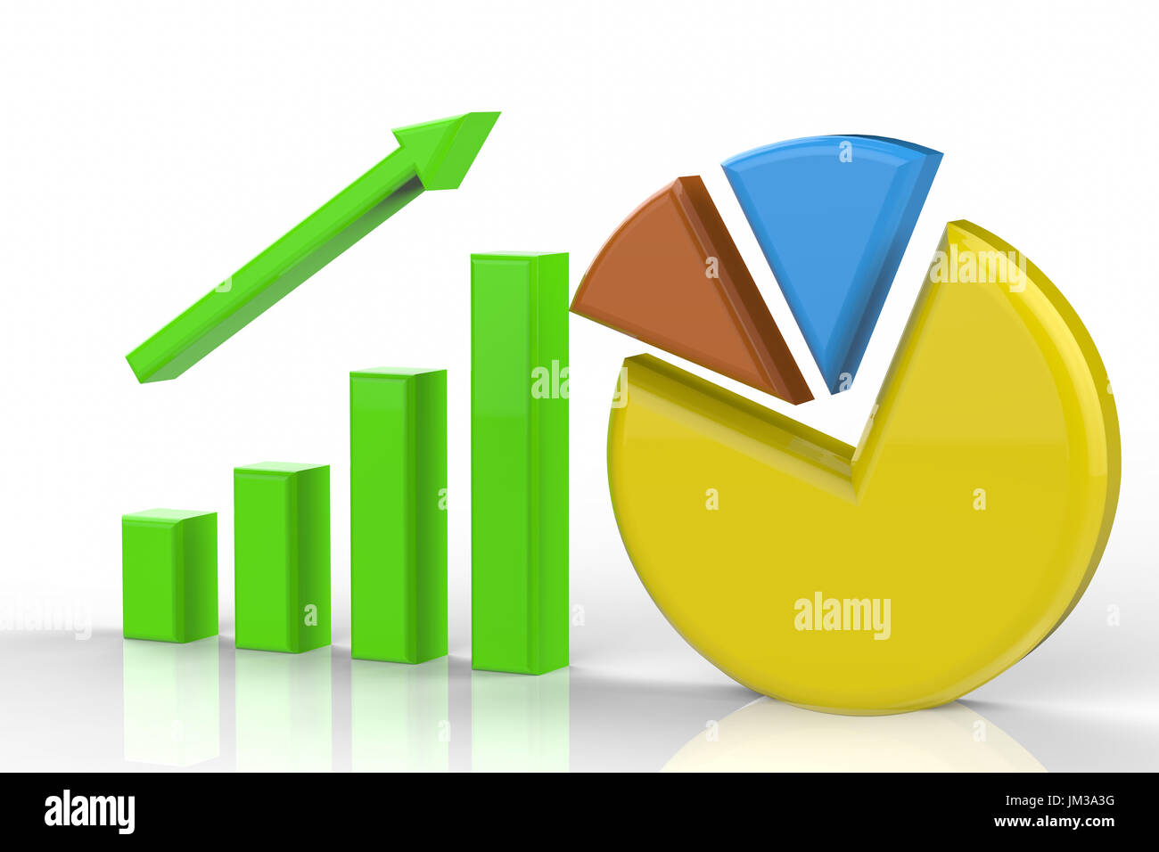 3d rendering growth graph and pie chart stock photo royalty free 3d rendering growth graph and pie chart nvjuhfo Image collections