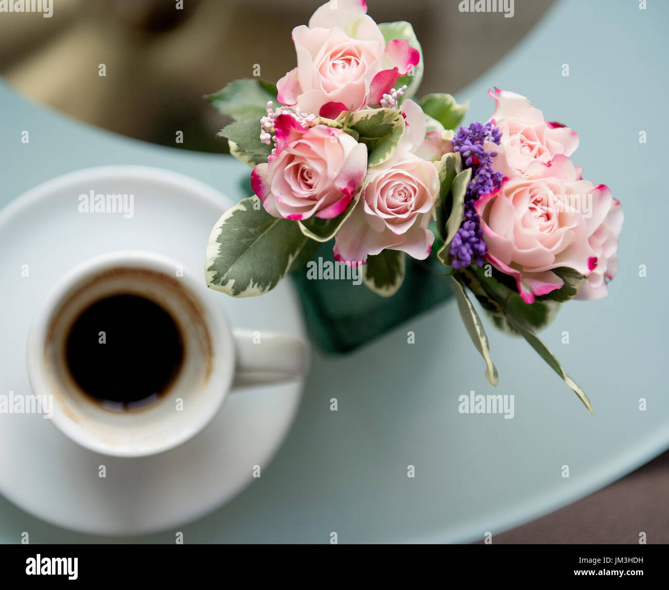White Coffee Mug With Bouquet Of Beautiful Flowers Top View Stock