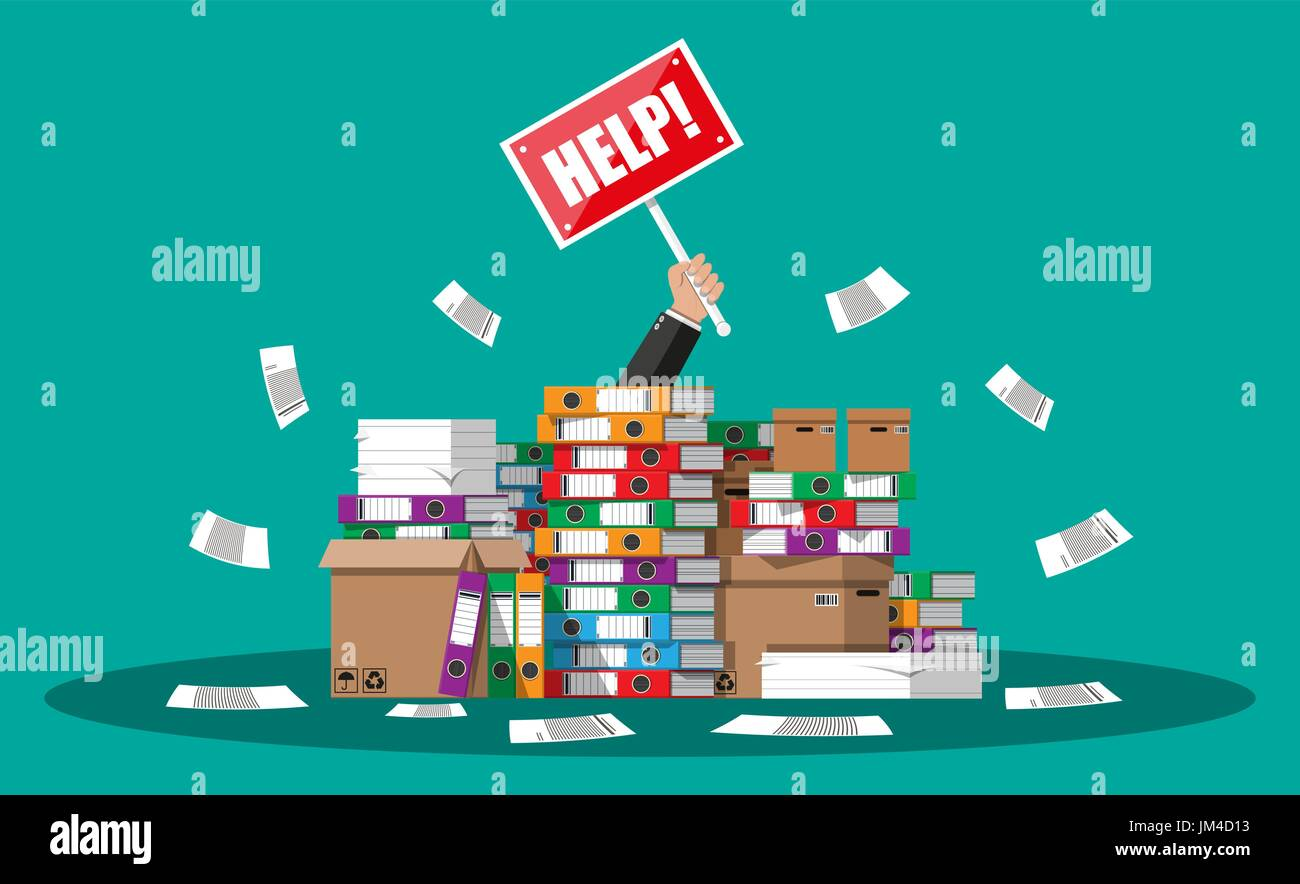 stressed cartoon businessman in pile of office papers and  stressed cartoon businessman in pile of office papers and documents help sign stress at work overworked file folders carton boxes bureaucrac