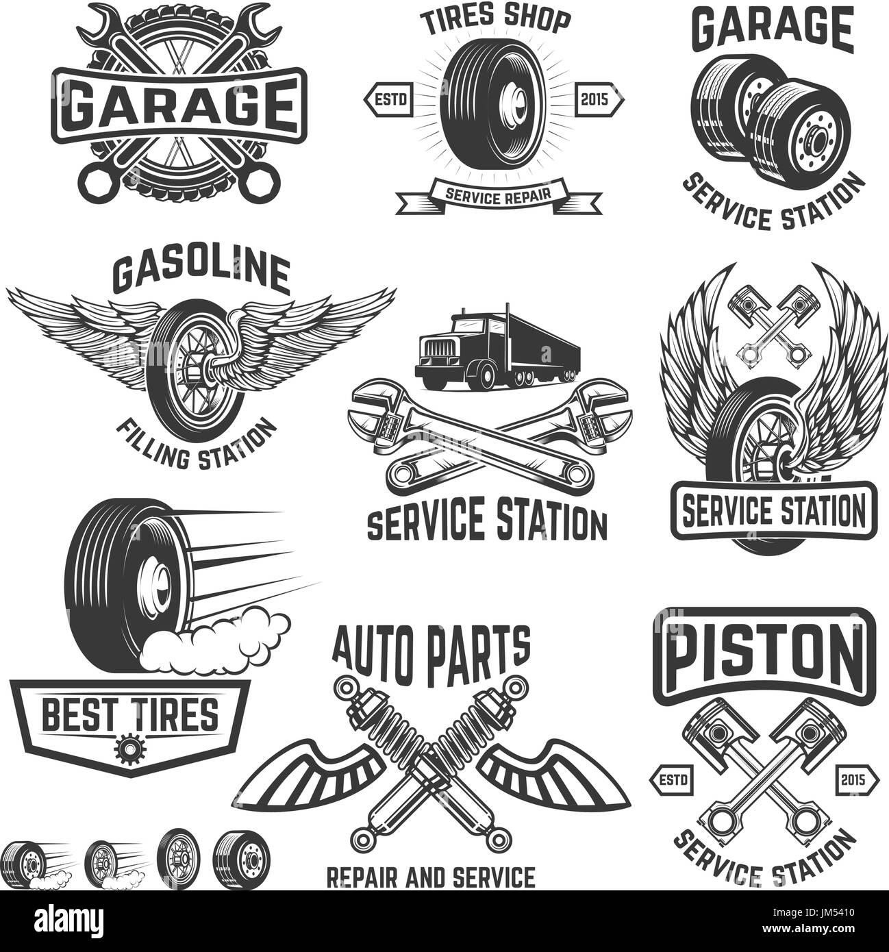 Garage Service Station Auto Parts Store Filling Badges Design Element For Logo Label Sign Vector Illustration