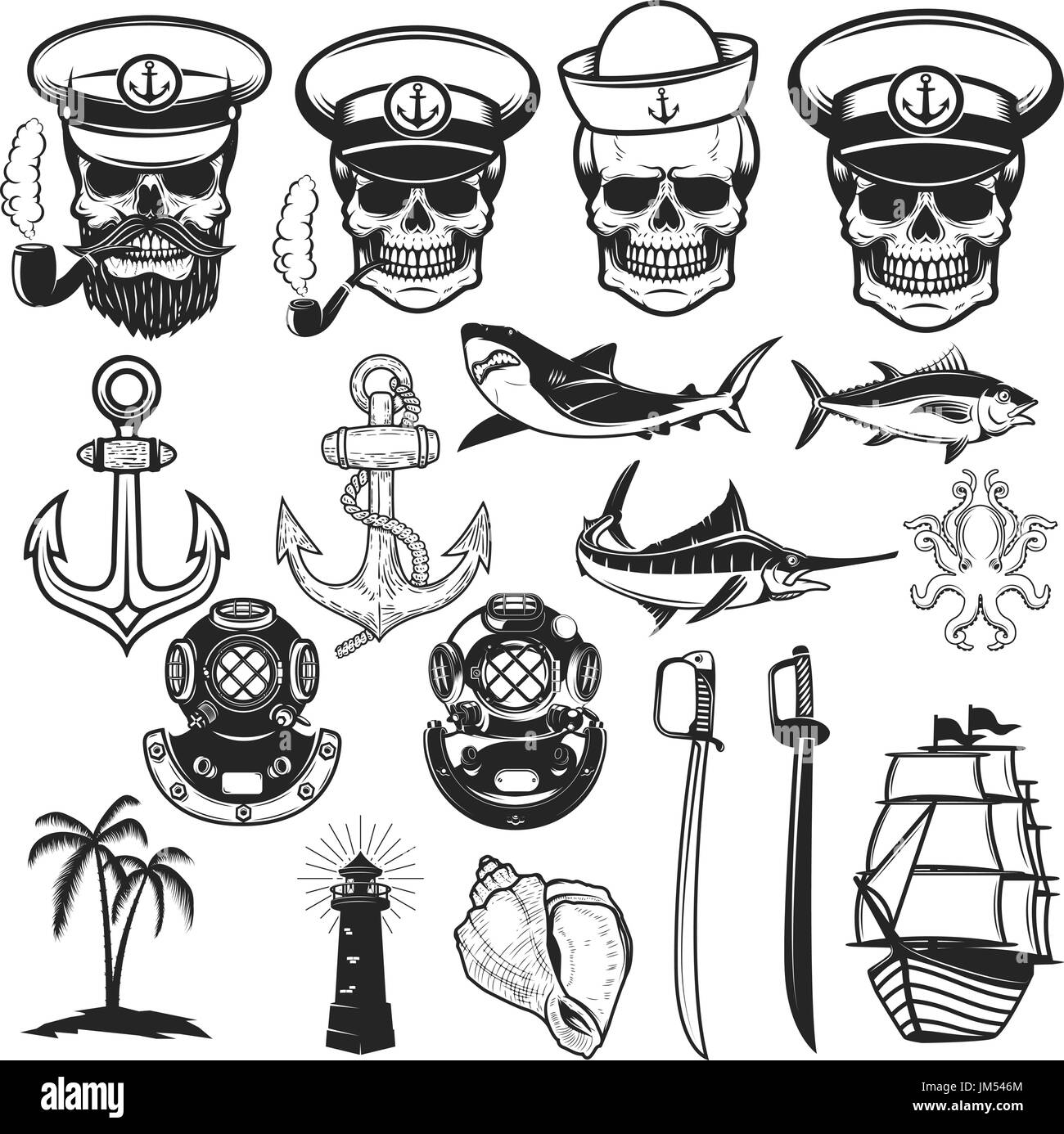 Sailor stock photos illustrations and vector art - Set Of Nautical Elements Anchor Fish Shark Ship Octopus Sailors Skulls Images For Logo Label Emblem Sign Poster Vector Illustration
