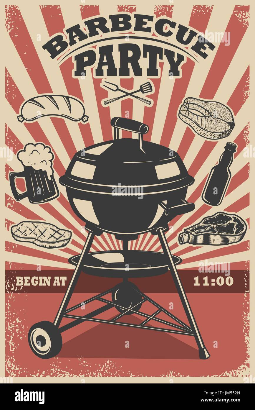 barbecue party flyer template grill fire grilled meat beer stock