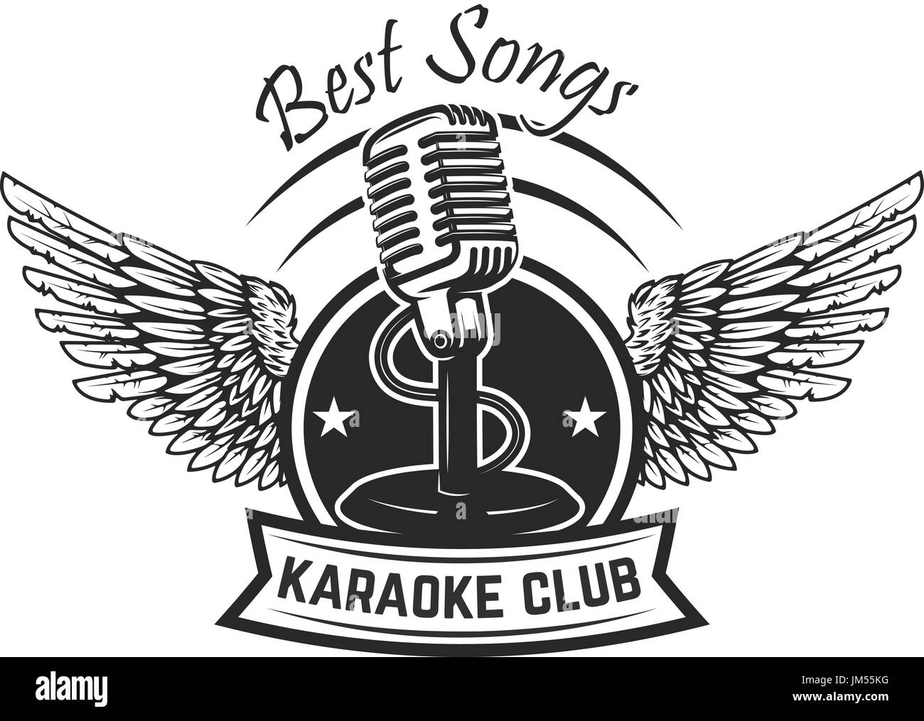 karaoke club label template emblem with vintage microphone and