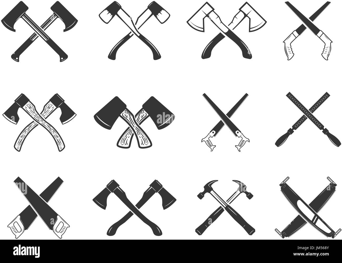 Set Of The Crossed Carpenter Tools Design Elements For Logo Label