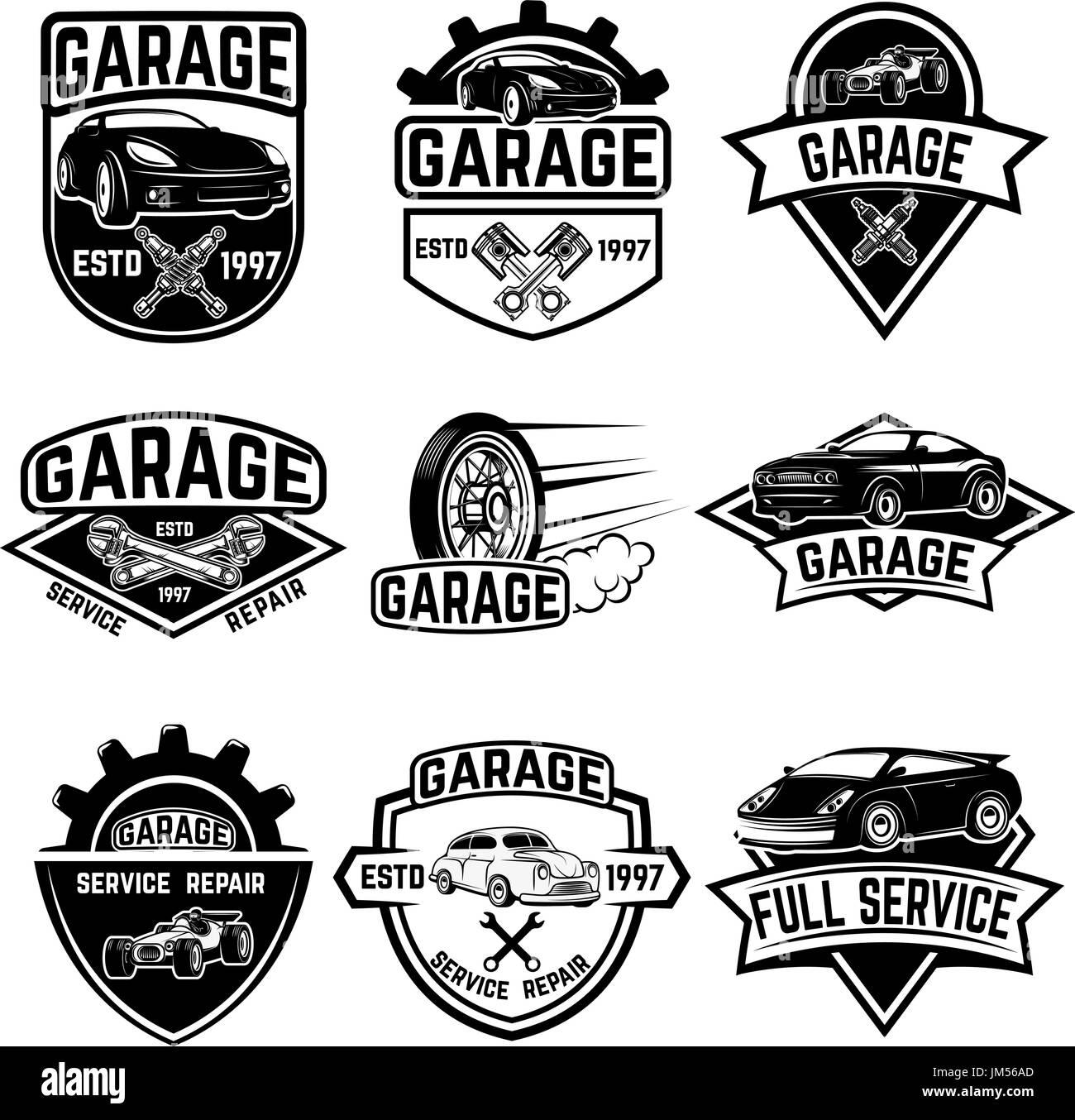 Set of vintage car service labels. Design elements for logo, label ...