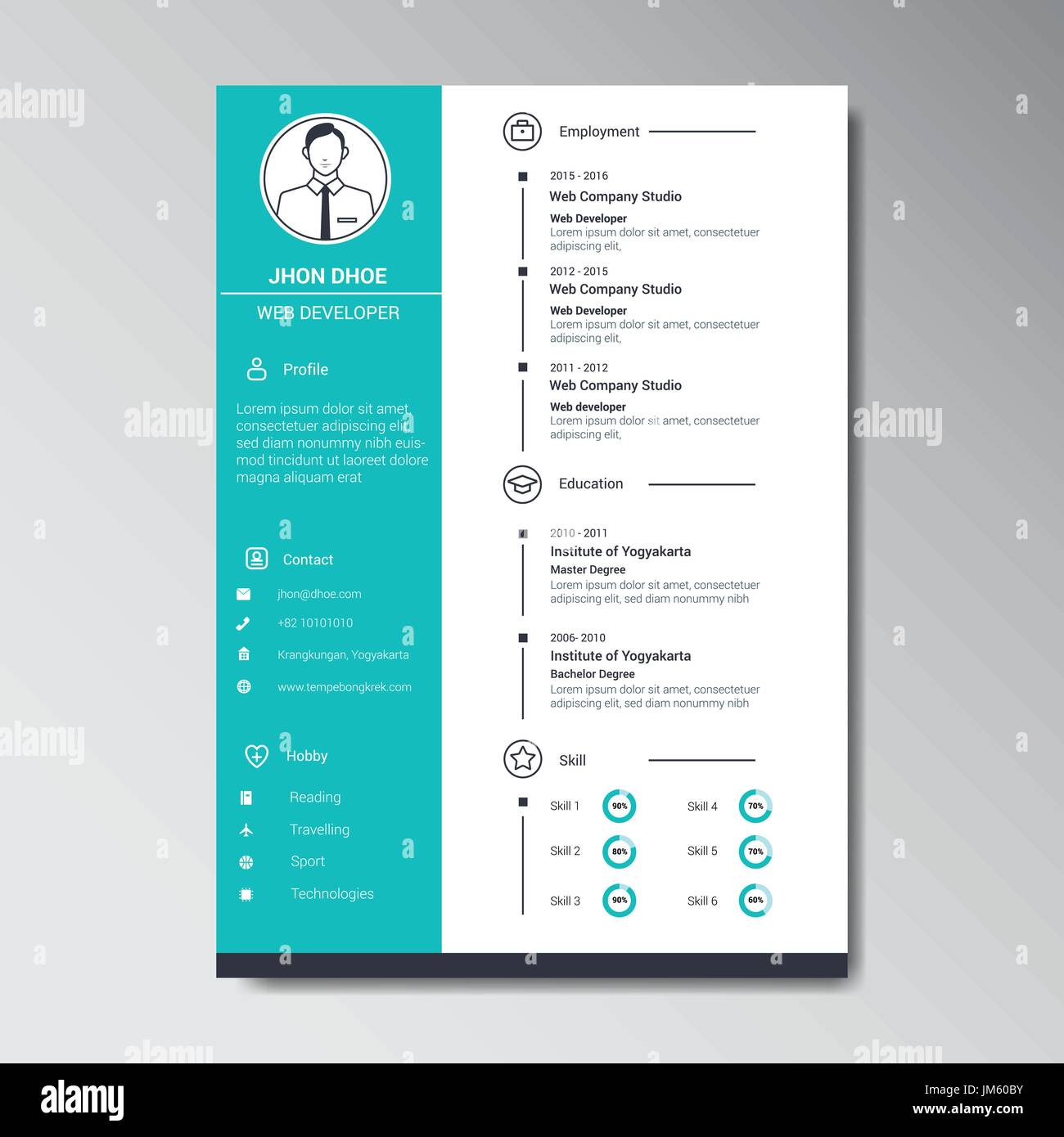 unique flat color curriculum vitae design template with photo or