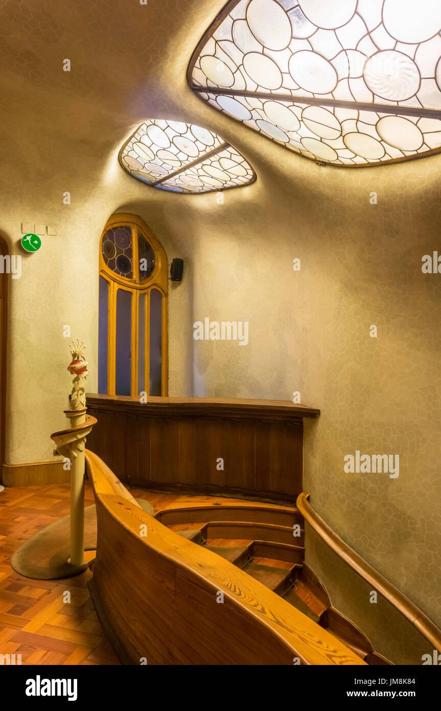 Barcelona Catalunya Casa batllo stairs interior staircase Casa Batllo  stained glass windows architect Antoni Gaudi spain eu europe Catalonia