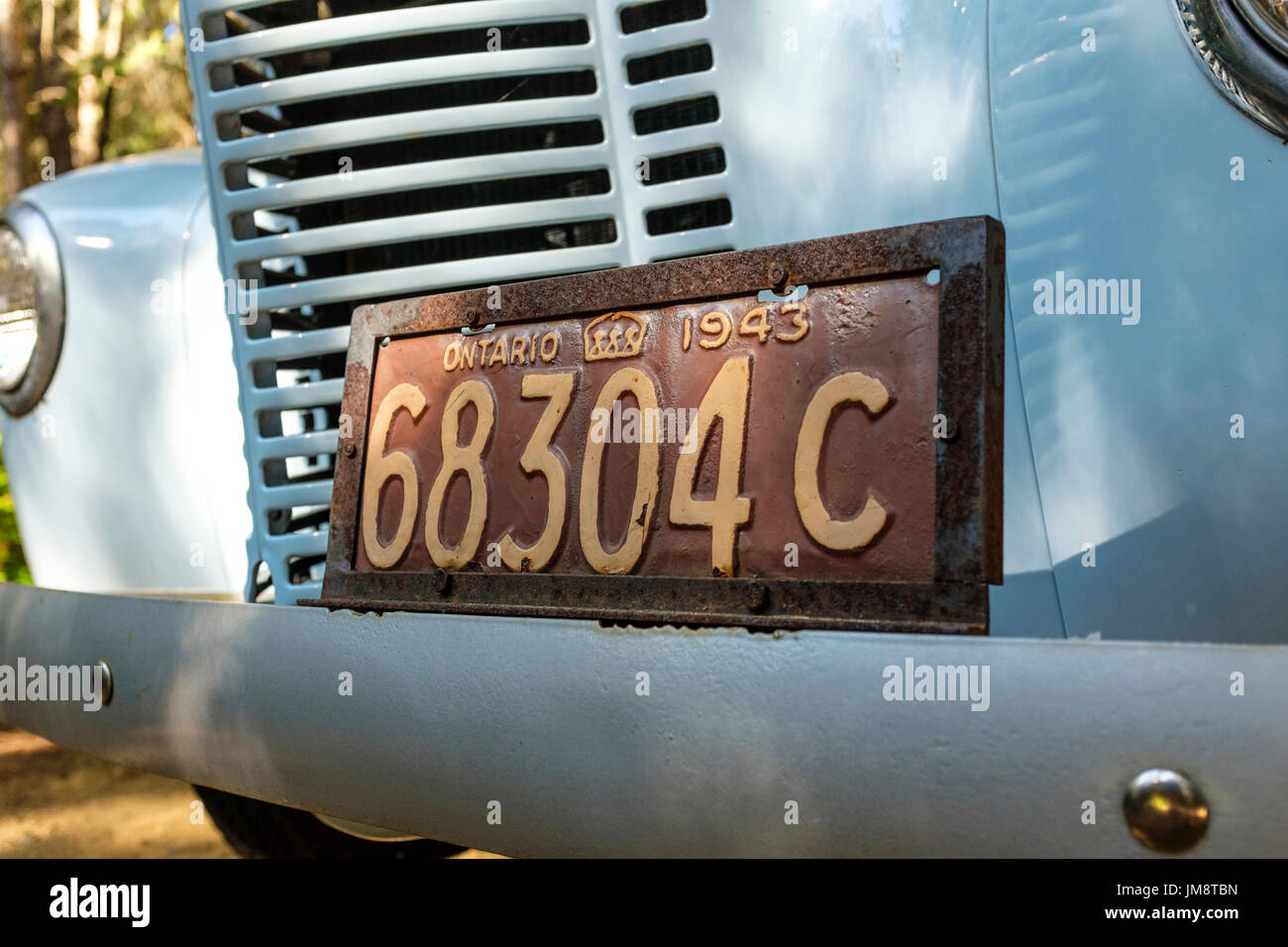 Old Ontario number plate licence plate license plate on an old car ...