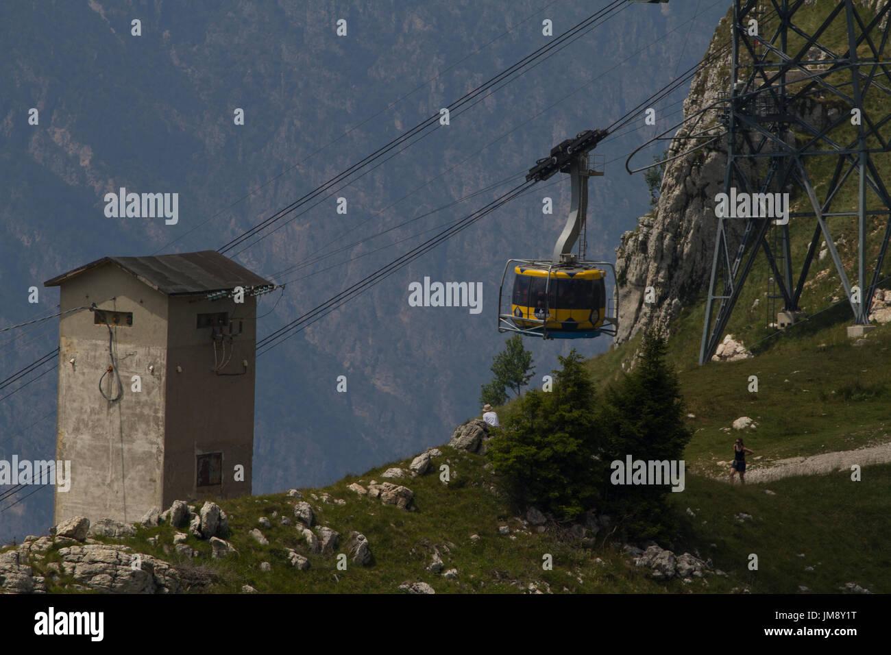Cable Car Up Monte Baldo From Malcesine Lake Garda Italy Stock